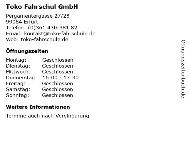 Toko Fahrschul GmbH in Erfurt: Adresse und Öffnungszeiten