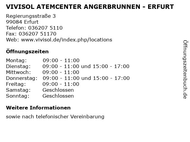 VIVISOL ATEMCENTER ANGERBRUNNEN - ERFURT in Erfurt: Adresse und Öffnungszeiten