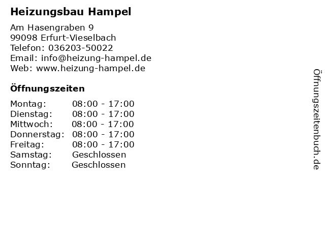 Heizungsbau Hampel in Erfurt-Vieselbach: Adresse und Öffnungszeiten