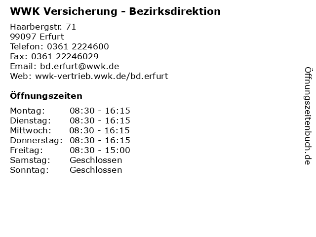 WWK Versicherung - Bezirksdirektion in Erfurt: Adresse und Öffnungszeiten