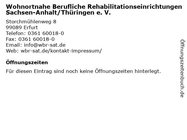Wohnortnahe Berufliche Rehabilitationseinrichtungen Sachsen-Anhalt/Thüringen e. V. in Erfurt: Adresse und Öffnungszeiten