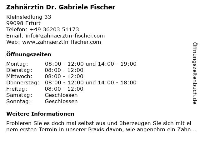 Zahnärztin Dr. Gabriele Fischer in Erfurt: Adresse und Öffnungszeiten