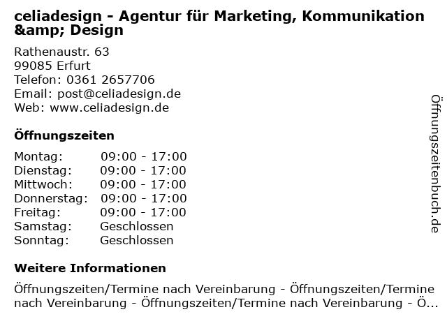 celiadesign - Agentur für Marketing, Kommunikation & Design in Erfurt: Adresse und Öffnungszeiten