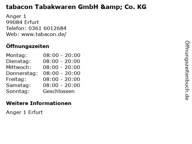 tabacon Tabakwaren GmbH & Co. KG in Erfurt: Adresse und Öffnungszeiten