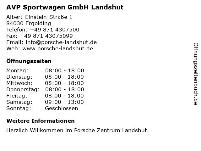 AVP Sportwagen GmbH Landshut in Ergolding: Adresse und Öffnungszeiten
