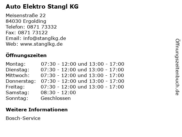 Auto Elektro Stangl KG in Ergolding: Adresse und Öffnungszeiten