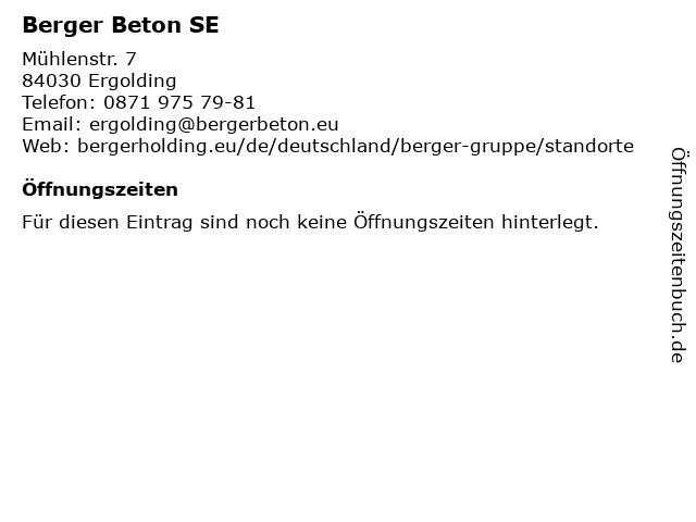 Berger Beton SE in Ergolding: Adresse und Öffnungszeiten
