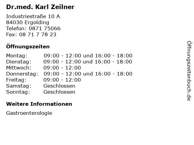 Dr.med. Karl Zeilner in Ergolding: Adresse und Öffnungszeiten