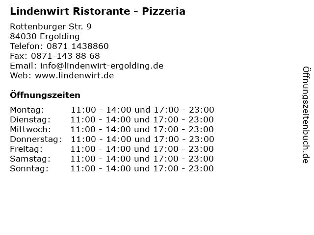 Lindenwirt Ristorante - Pizzeria in Ergolding: Adresse und Öffnungszeiten