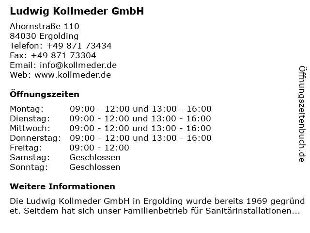 Ludwig Kollmeder GmbH in Ergolding: Adresse und Öffnungszeiten