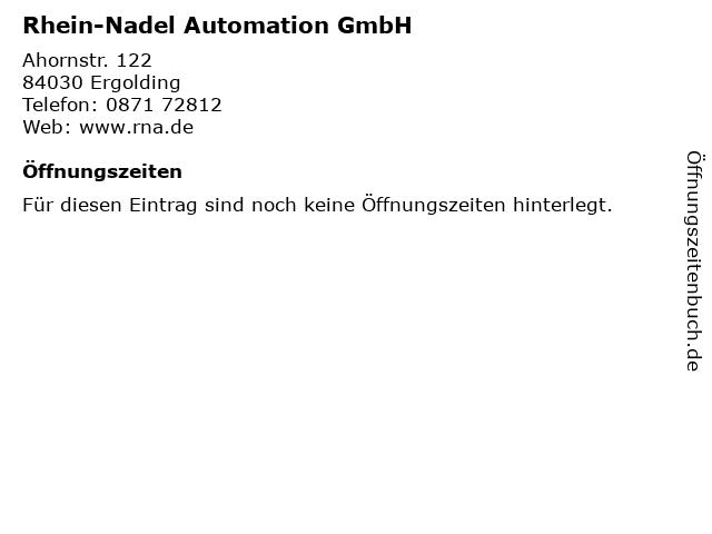 Rhein-Nadel Automation GmbH in Ergolding: Adresse und Öffnungszeiten
