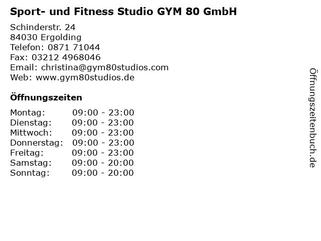 Sport- und Fitness Studio GYM 80 GmbH in Ergolding: Adresse und Öffnungszeiten
