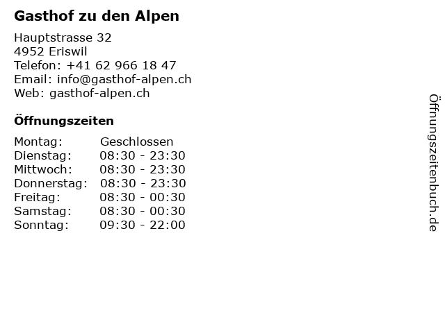 Gasthof zu den Alpen in Eriswil: Adresse und Öffnungszeiten