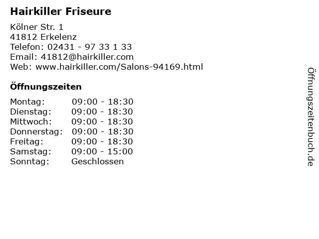 Hairkiller Friseure in Erkelenz: Adresse und Öffnungszeiten