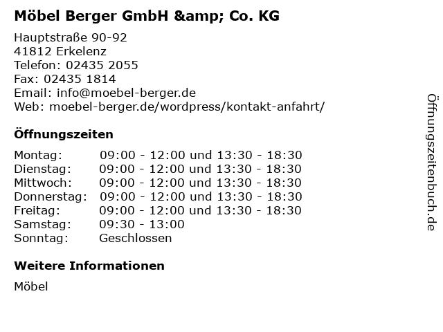 ᐅ Offnungszeiten Mobel Berger Gmbh Co Kg Hauptstrasse 90 92