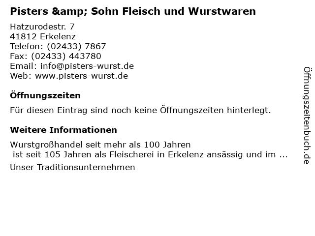 Pisters & Sohn Fleisch und Wurstwaren in Erkelenz: Adresse und Öffnungszeiten