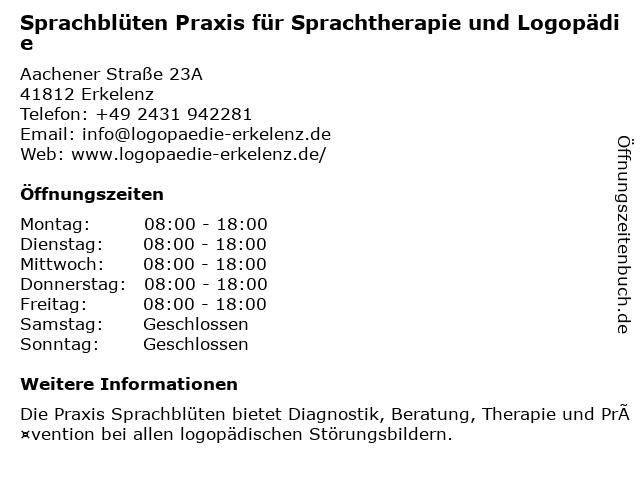Sprachblüten Praxis für Sprachtherapie und Logopädie in Erkelenz: Adresse und Öffnungszeiten