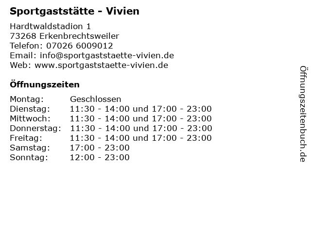 Sportgaststätte - Vivien in Erkenbrechtsweiler: Adresse und Öffnungszeiten