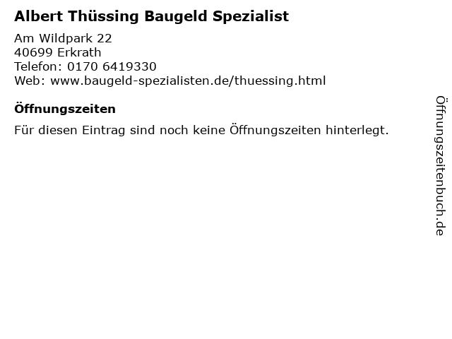 Albert Thüssing Baugeld Spezialist in Erkrath: Adresse und Öffnungszeiten