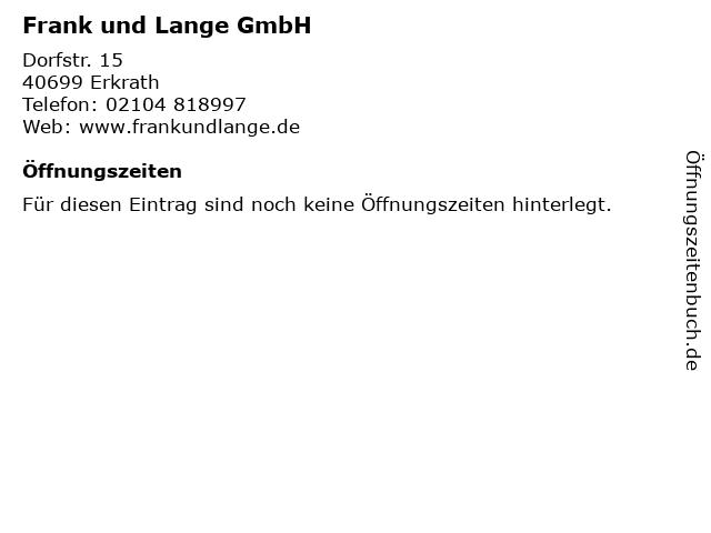 Frank und Lange GmbH in Erkrath: Adresse und Öffnungszeiten