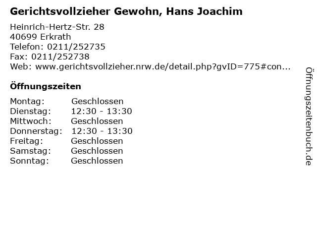 Gerichtsvollzieher Gewohn, Hans Joachim in Erkrath: Adresse und Öffnungszeiten