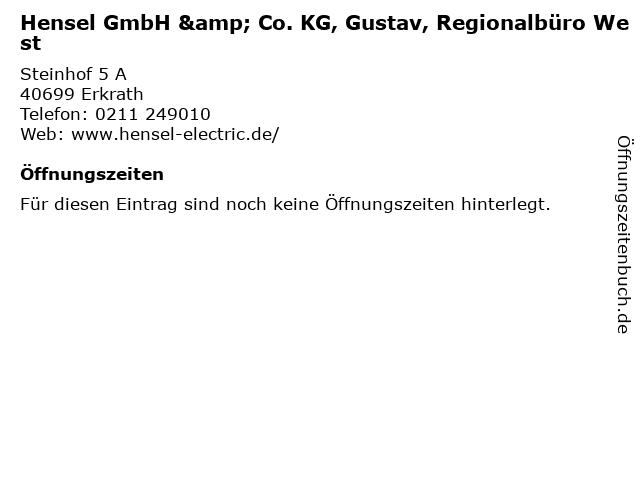 Hensel GmbH & Co. KG, Gustav, Regionalbüro West in Erkrath: Adresse und Öffnungszeiten