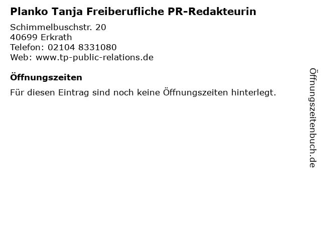 Planko Tanja Freiberufliche PR-Redakteurin in Erkrath: Adresse und Öffnungszeiten