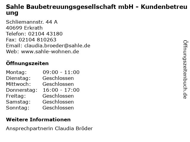 Sahle Baubetreuungsgesellschaft mbH - Kundenbetreuung in Erkrath: Adresse und Öffnungszeiten