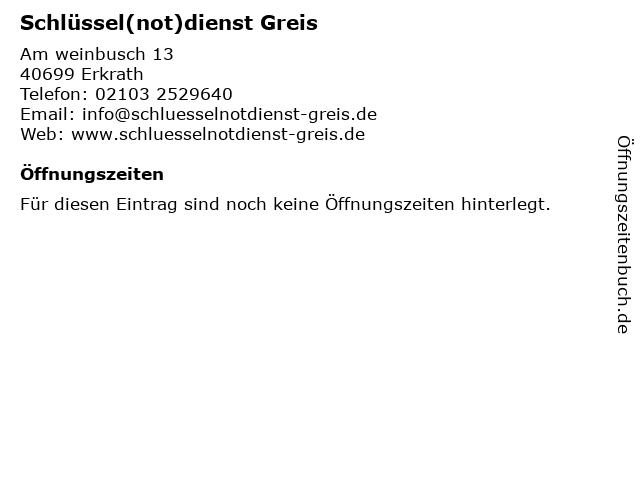 Schlüssel(not)dienst Greis in Erkrath: Adresse und Öffnungszeiten
