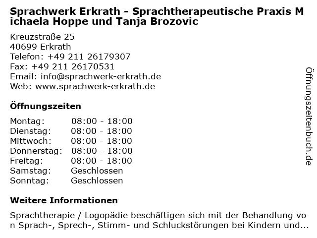 Sprachwerk Erkrath - Sprachtherapeutische Praxis Michaela Hoppe und Tanja Brozovic in Erkrath: Adresse und Öffnungszeiten