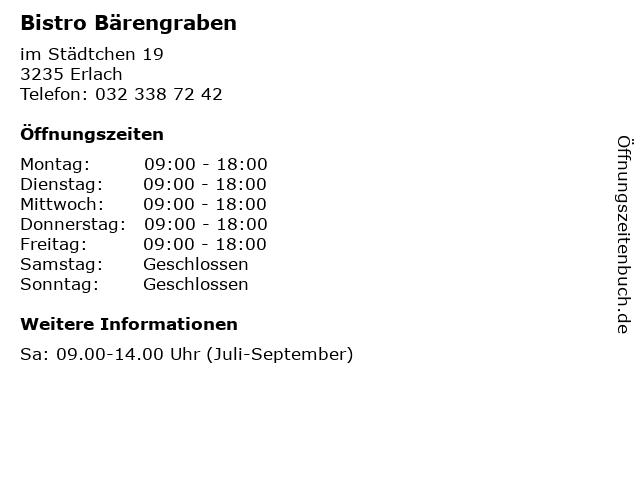 Bistro Bärengraben in Erlach: Adresse und Öffnungszeiten