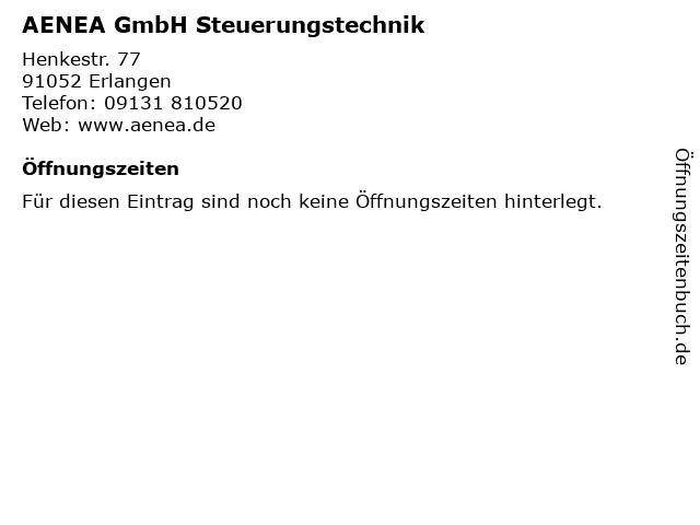 AENEA GmbH Steuerungstechnik in Erlangen: Adresse und Öffnungszeiten