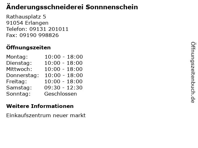 Änderungsschneiderei Sonnnenschein in Erlangen: Adresse und Öffnungszeiten