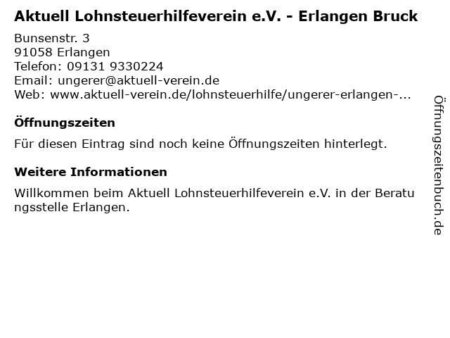 Aktuell Lohnsteuerhilfeverein e.V. - Erlangen Bruck in Erlangen: Adresse und Öffnungszeiten