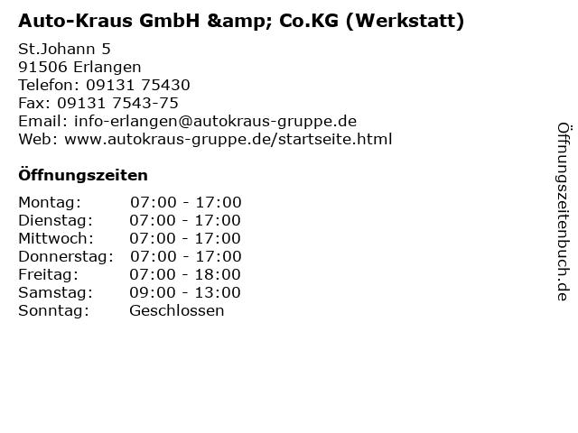 Auto-Kraus GmbH & Co.KG (Werkstatt) in Erlangen: Adresse und Öffnungszeiten