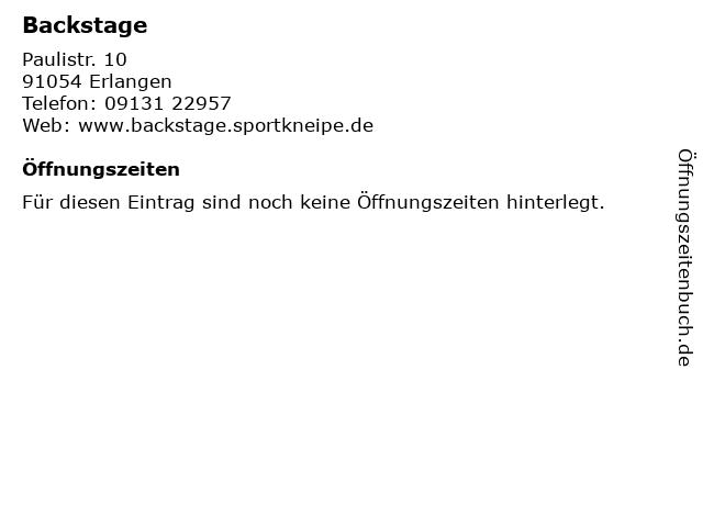 Backstage in Erlangen: Adresse und Öffnungszeiten