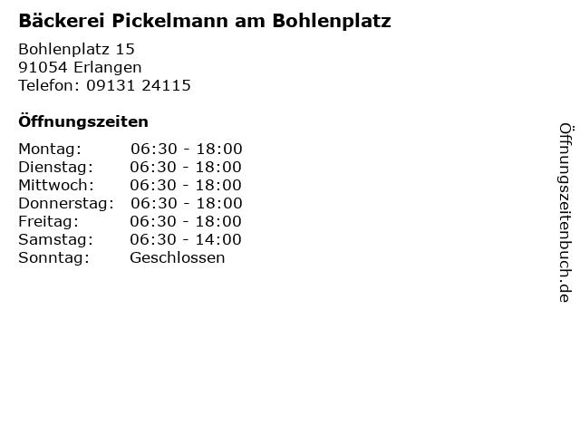 Bäckerei Pickelmann am Bohlenplatz in Erlangen: Adresse und Öffnungszeiten
