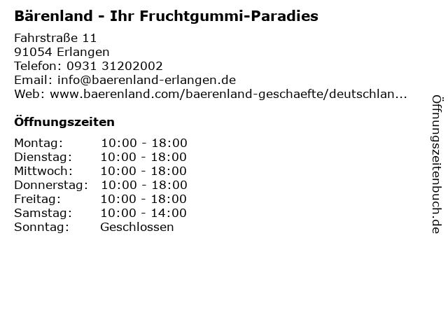 Bärenland - Ihr Fruchtgummi-Paradies in Erlangen: Adresse und Öffnungszeiten