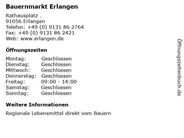 Bauernmarkt Erlangen in Erlangen: Adresse und Öffnungszeiten