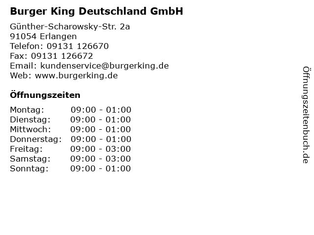 Burger King Deutschland GmbH in Erlangen: Adresse und Öffnungszeiten