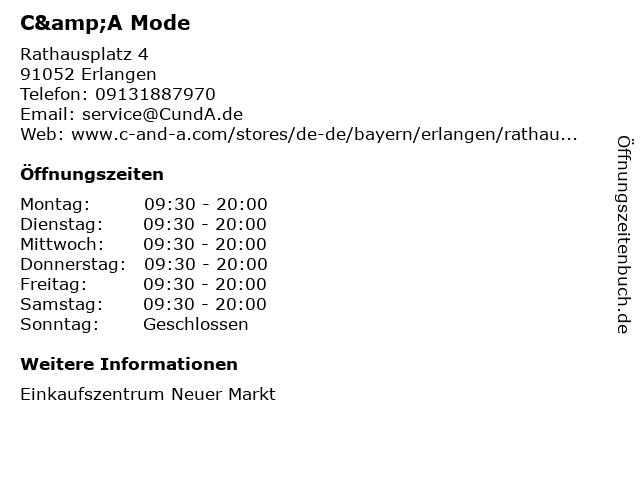 C&A Mode GmbH & Co. KG in Erlangen: Adresse und Öffnungszeiten