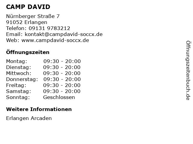CAMP DAVID in Erlangen: Adresse und Öffnungszeiten