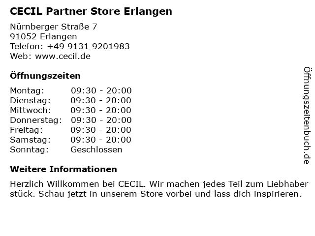 CECIL Partner Store Erlangen in Erlangen: Adresse und Öffnungszeiten