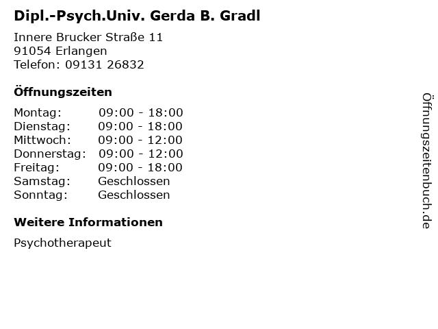 Dipl.-Psych.Univ. Gerda B. Gradl in Erlangen: Adresse und Öffnungszeiten