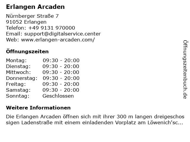 Erlangen Arcaden in Erlangen: Adresse und Öffnungszeiten