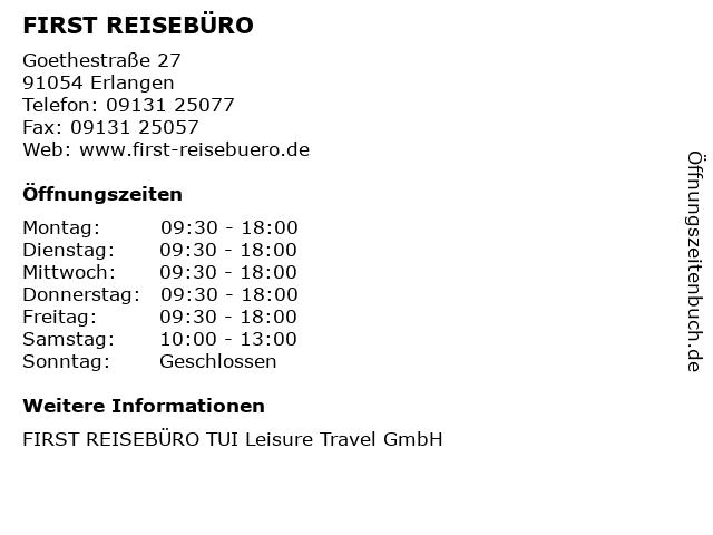 FIRST REISEBÜRO in Erlangen: Adresse und Öffnungszeiten