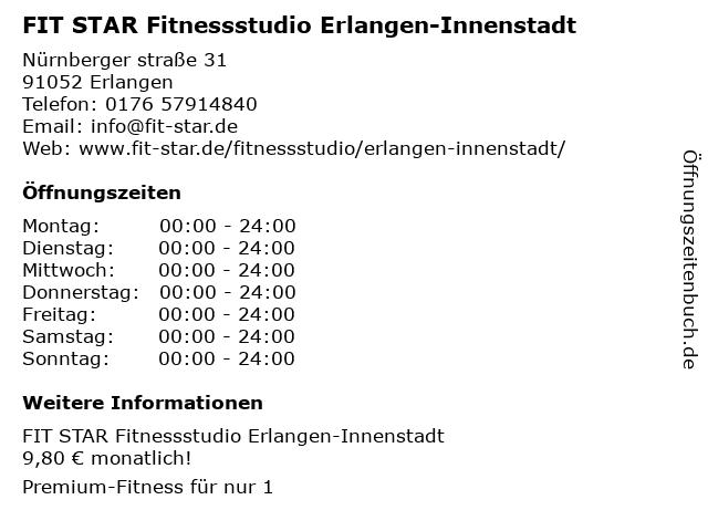 FIT STAR Fitnessstudio Erlangen-Innenstadt in Erlangen: Adresse und Öffnungszeiten