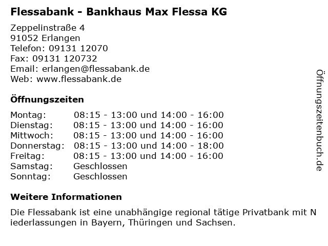 Flessabank - Bankhaus Max Flessa KG in Erlangen: Adresse und Öffnungszeiten