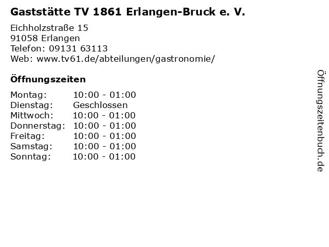 Gaststätte TV 1861 Erlangen-Bruck e. V. in Erlangen: Adresse und Öffnungszeiten