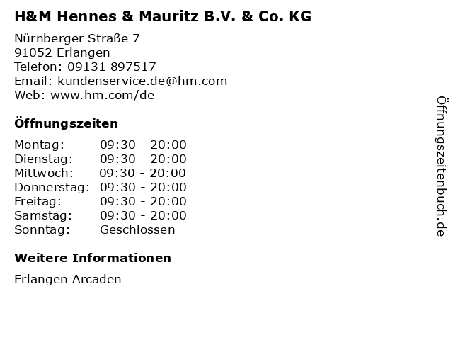 H&M Hennes & Mauritz B.V. & Co. KG in Erlangen: Adresse und Öffnungszeiten